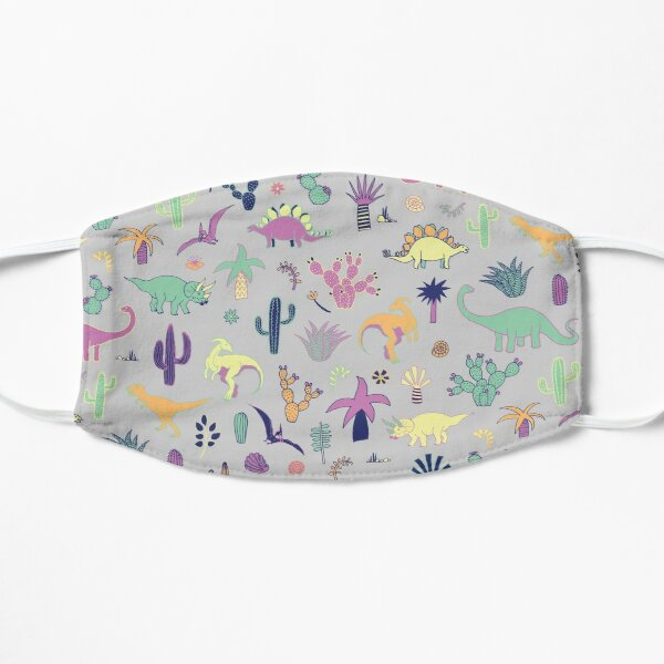 Dinosaur Desert - peach, mint and navy - fun pattern by Cecca Designs Flat Mask
