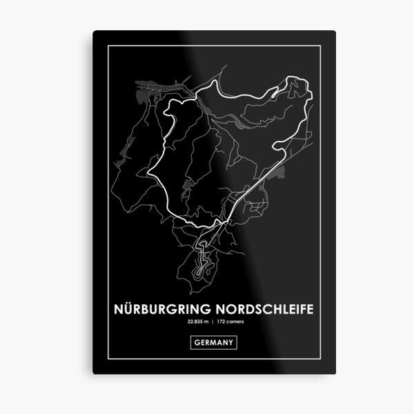 Nürburgring Nordschleife - Germany Track Map WHITE Metal Print