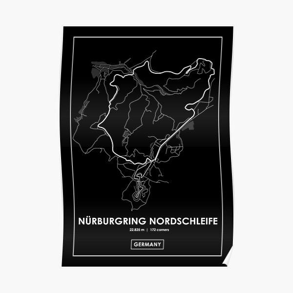 Nürburgring Nordschleife - Allemagne Carte des pistes BLANC Poster