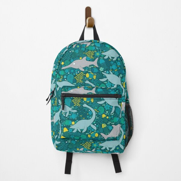 Swimming with Plesiosaurs - cute prehistoric animal design Backpack