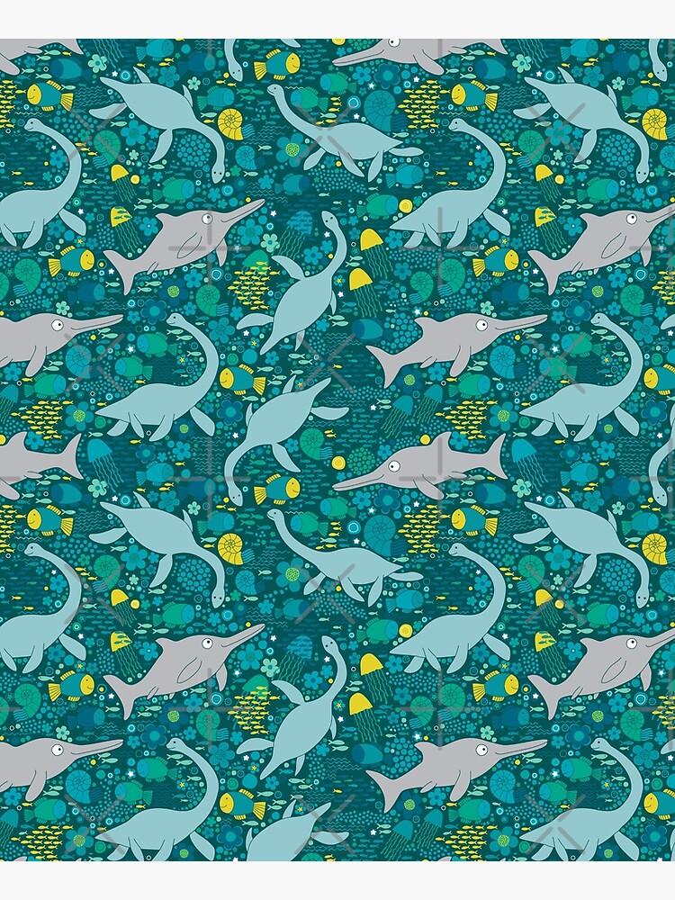 Swimming with Plesiosaurs - cute prehistoric animal design by Cecca-Designs