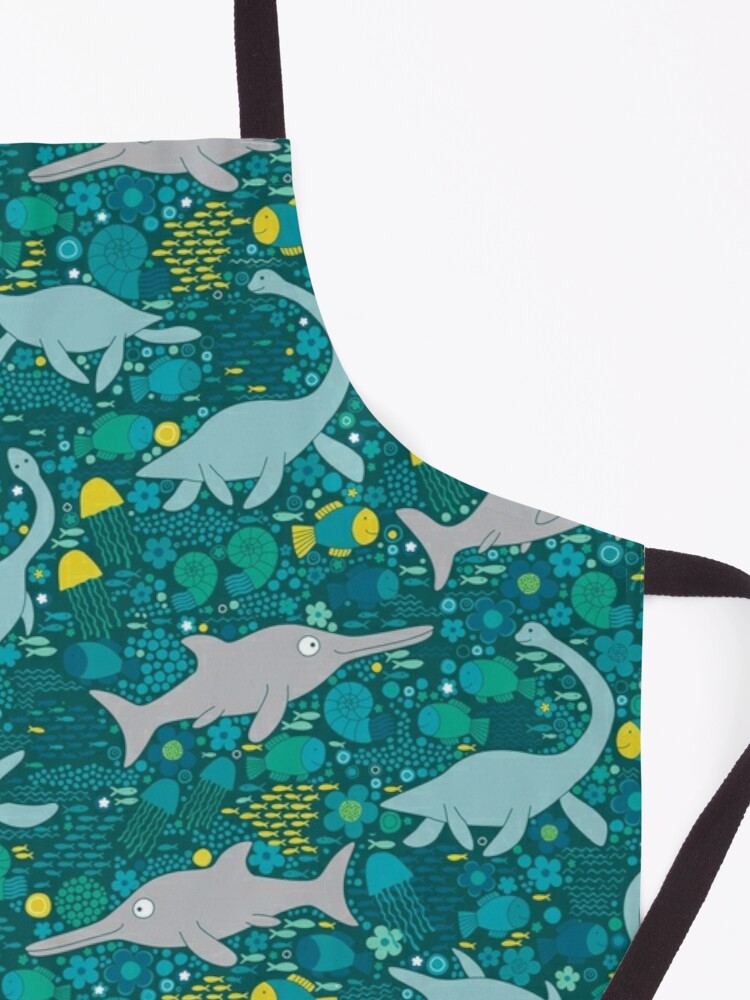 Alternate view of Swimming with Plesiosaurs - cute prehistoric animal design Apron