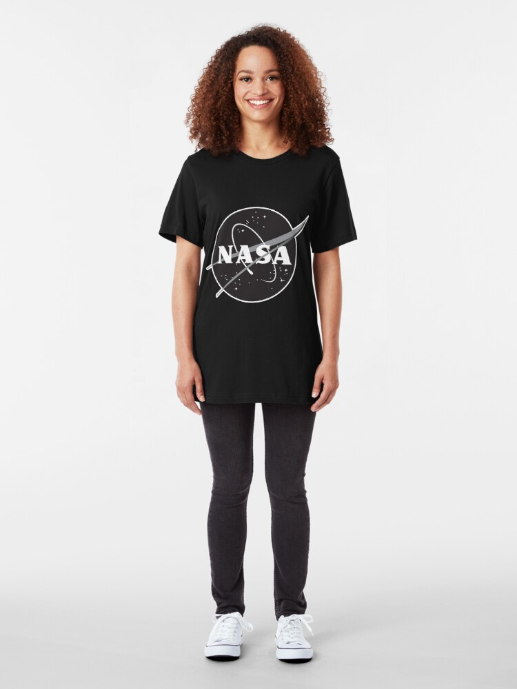 Alternate view of NASA Black (with white border) Slim Fit T-Shirt