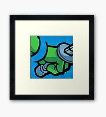 Lichtenstein Pop Martial Art Quelonians | Blue Framed Print