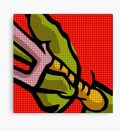Lichtenstein Pop Martial Art Quelonians | Red Canvas Print