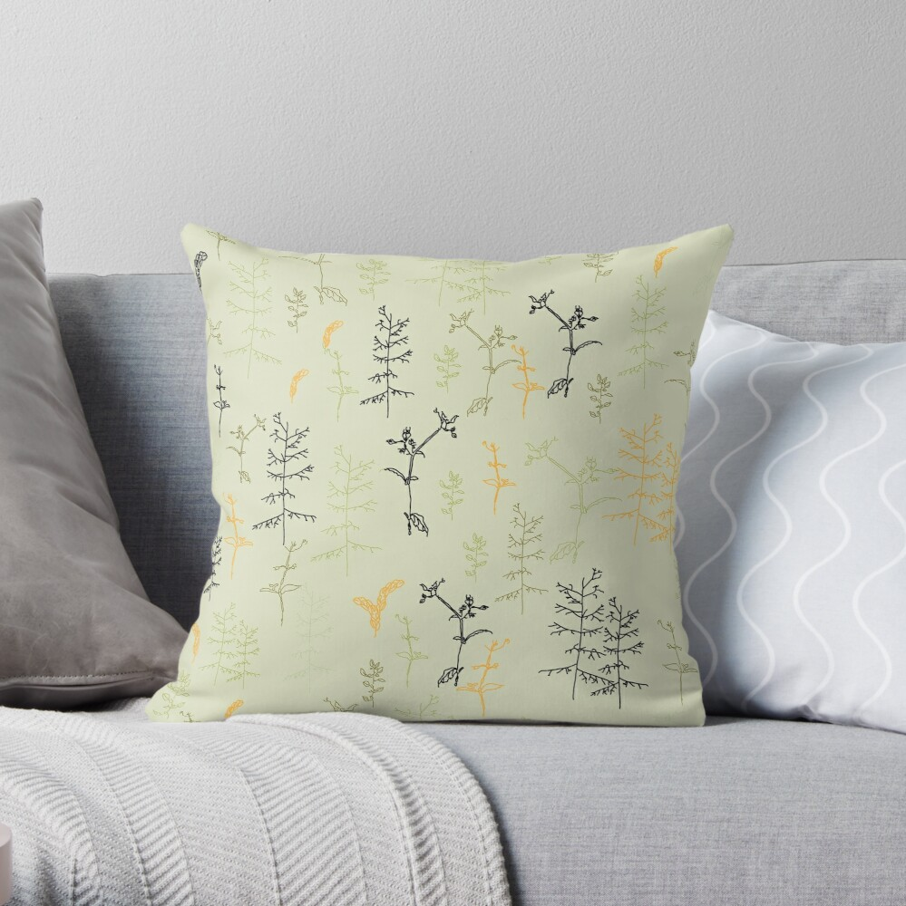 Wild Leaves Throw Pillow