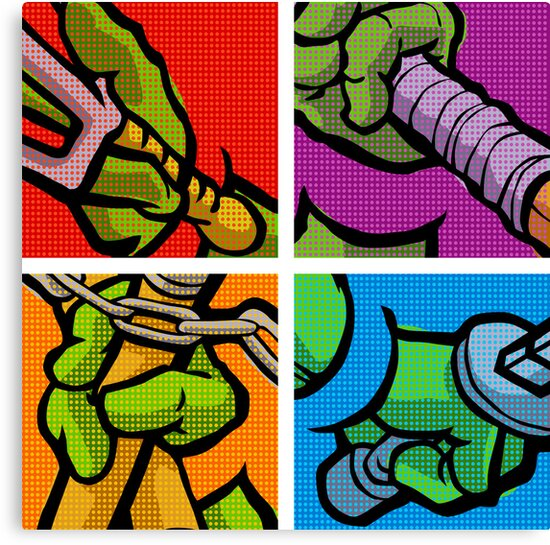 Lichtenstein Pop Martial Art Quelonians Full Set by butcherbilly