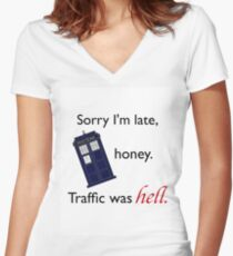 Traffic Was Hell Women's Fitted V-Neck T-Shirt
