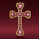 Christian Cross in Silver with Ruby Stones by Stacey Lynn Payne