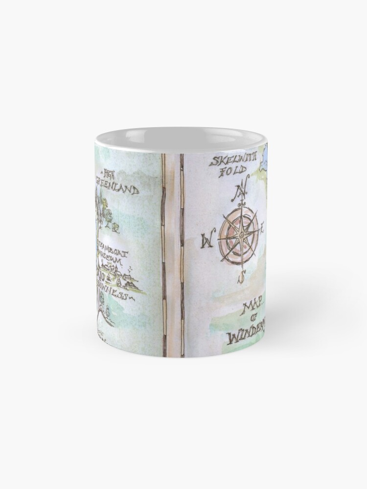 Alternate view of Swallows and Amazons map of Windermere in spring colours -  Mug