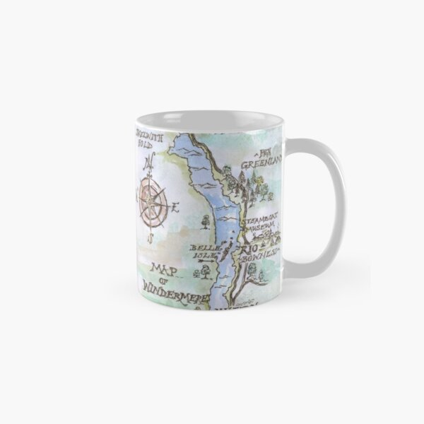 Swallows and Amazons map of Windermere in spring colours -  Classic Mug