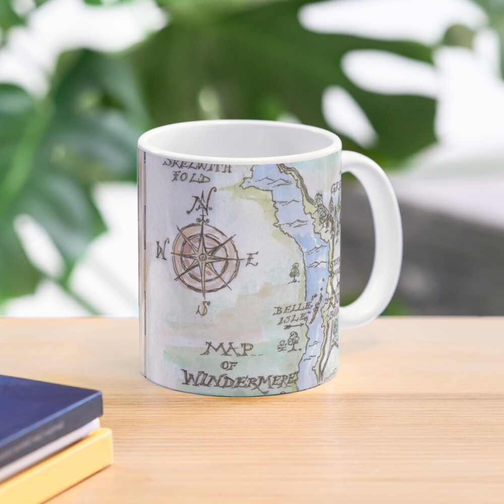 Swallows and Amazons map of Windermere in spring colours -  Mug