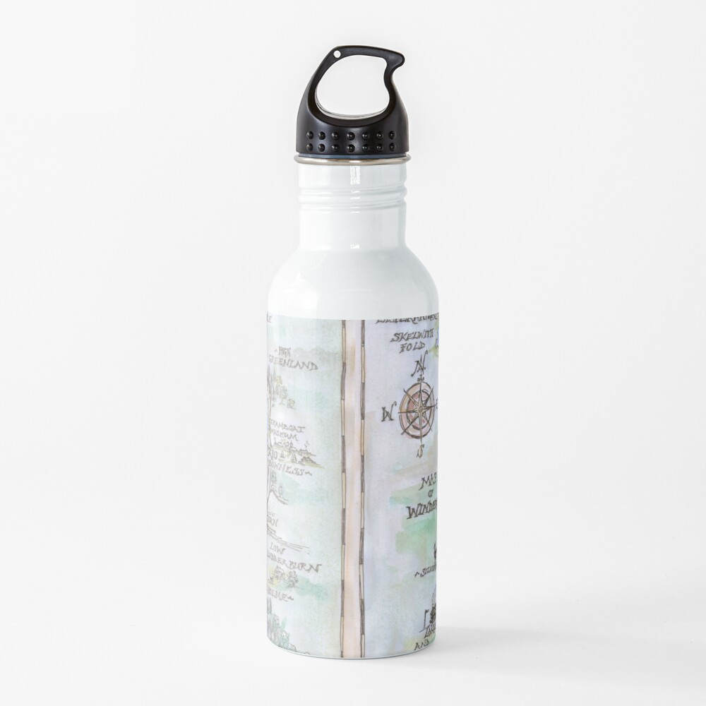 Swallows and Amazons map of Windermere in spring colours -  Water Bottle