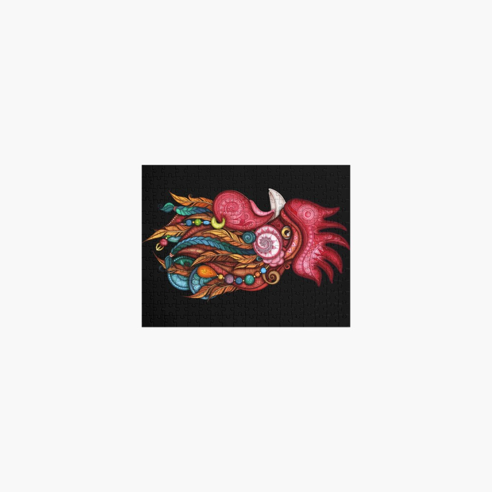 Tribal Rooster Design Jigsaw Puzzle