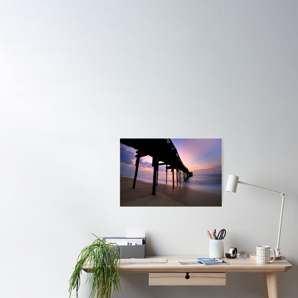 Avon Pier Sunrise, OBX Poster