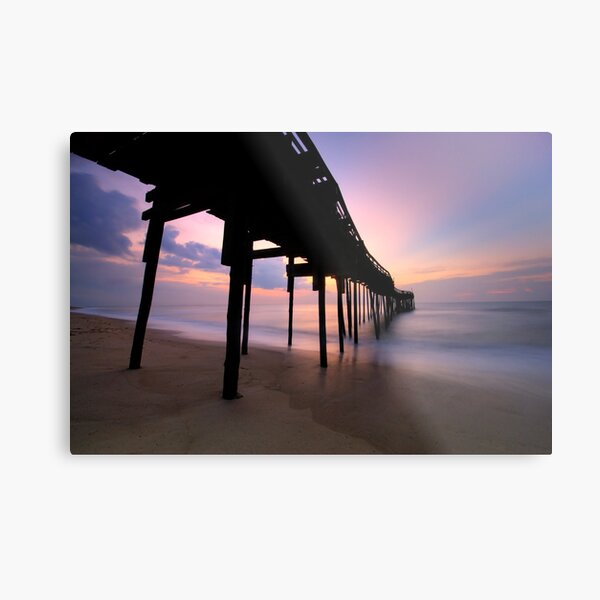 Avon Pier Sunrise, OBX Metal Print