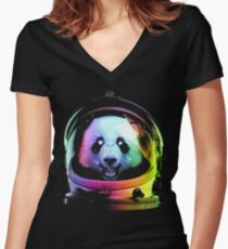 Astronaut Panda Women's Fitted V-Neck T-Shirt
