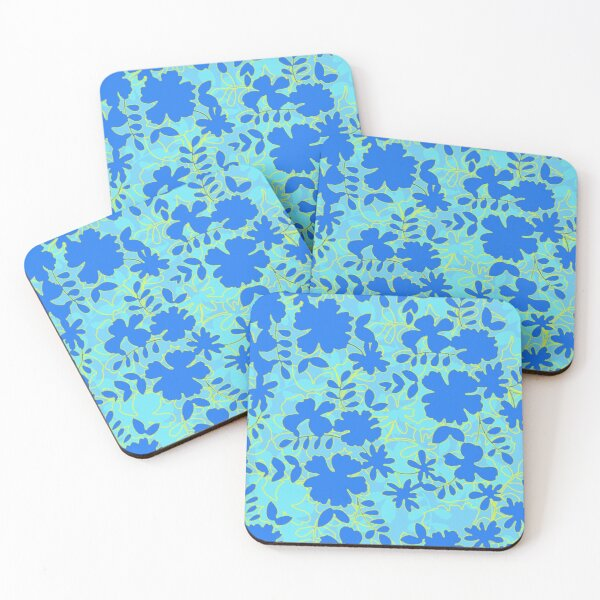 Graphic floral silhouette in blue Coasters (Set of 4)