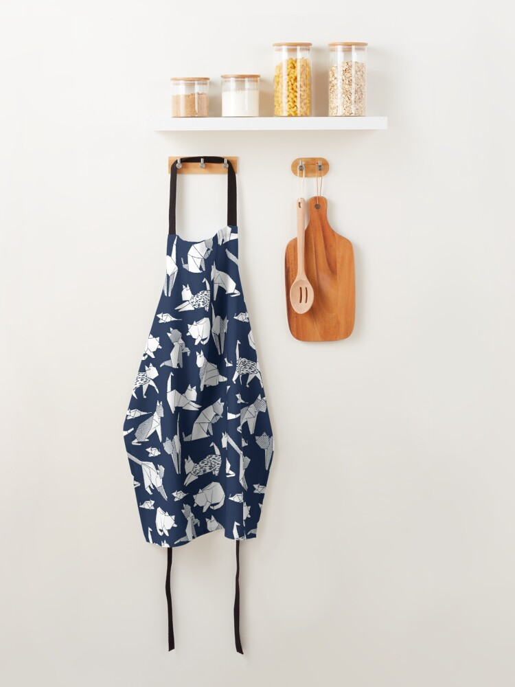 Alternate view of Origami kitten friends // blue navy background paper cats Apron