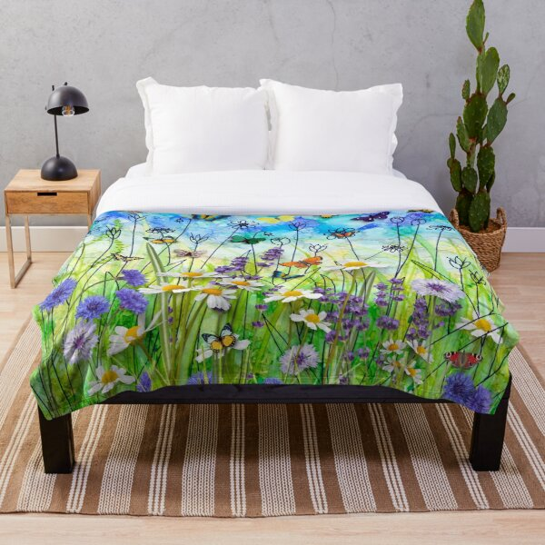 Butterflies & wildflowers collage, summer meadow Throw Blanket