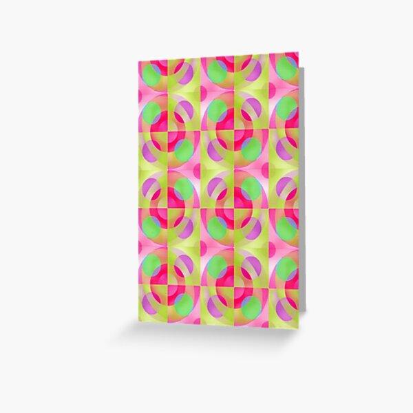 Bright Geometric Pattern on pink ground Greeting Card