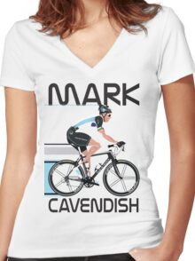 Mark Cavendish Women's Fitted V-Neck T-Shirt