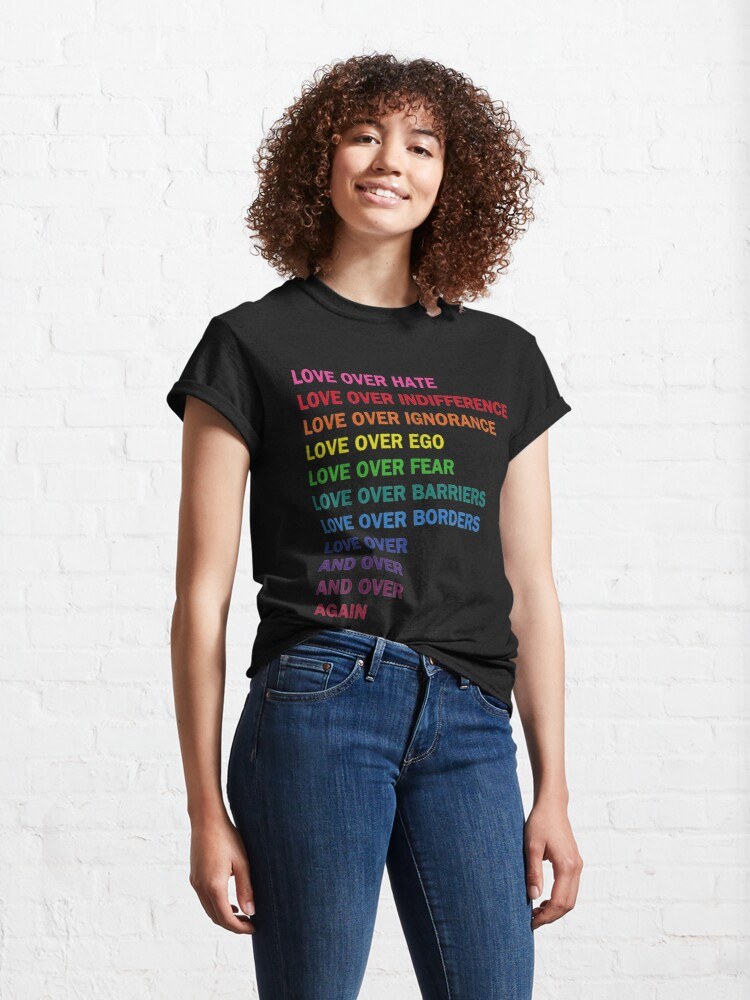 Alternate view of love over hate, love over indifference LGB  Classic T-Shirt