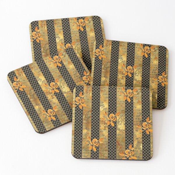 Gold roses on a golden grid on black background Coasters (Set of 4)