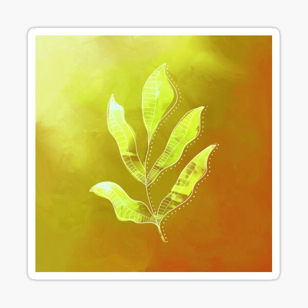 Botanical Leaf Drawing on an abstract painted background (yellow) Sticker
