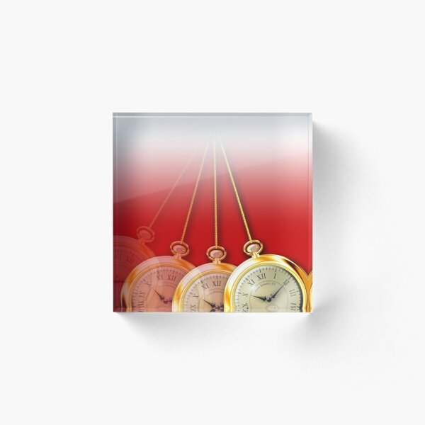 Swinging Pocket Watch for Hypnotists - Red Background Acrylic Block