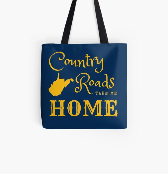 Country Roads Take Me Home West Virginia Gold Blue All Over Print Tote Bag