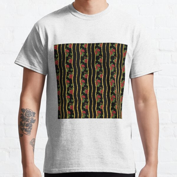 Pattern of red roses on a background of golden and black stripes Classic T-Shirt