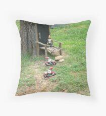 Biker Gnome Invasion Throw Pillow
