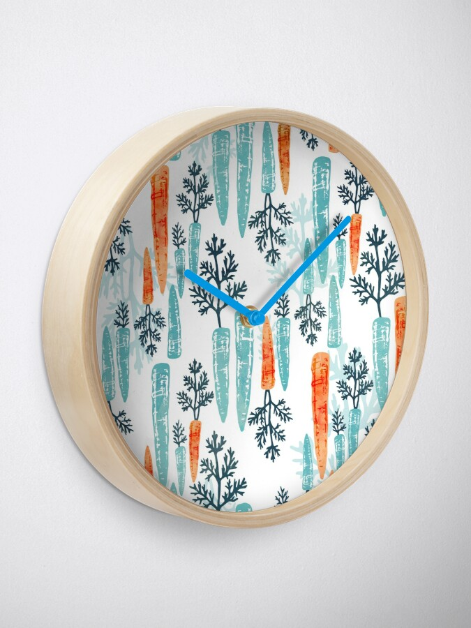 Alternate view of Watercolor carrot repeat on white Clock