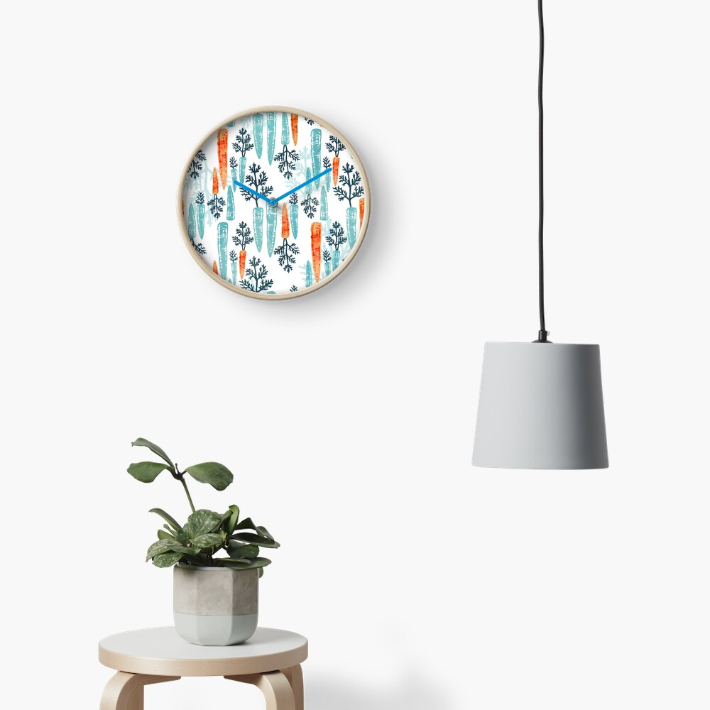 Watercolor carrot repeat on white Clock