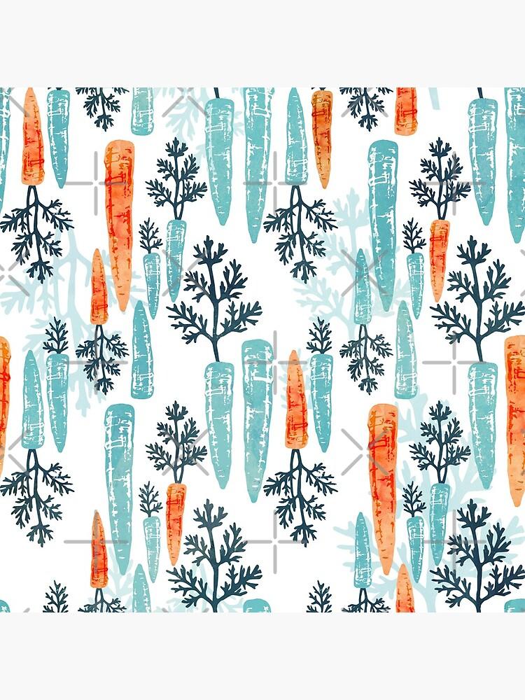 Watercolor carrot repeat on white by adenaJ