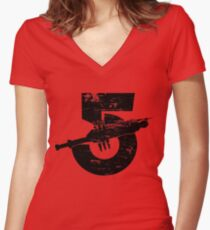 Babylon 5 Vintage (Black) Women's Fitted V-Neck T-Shirt