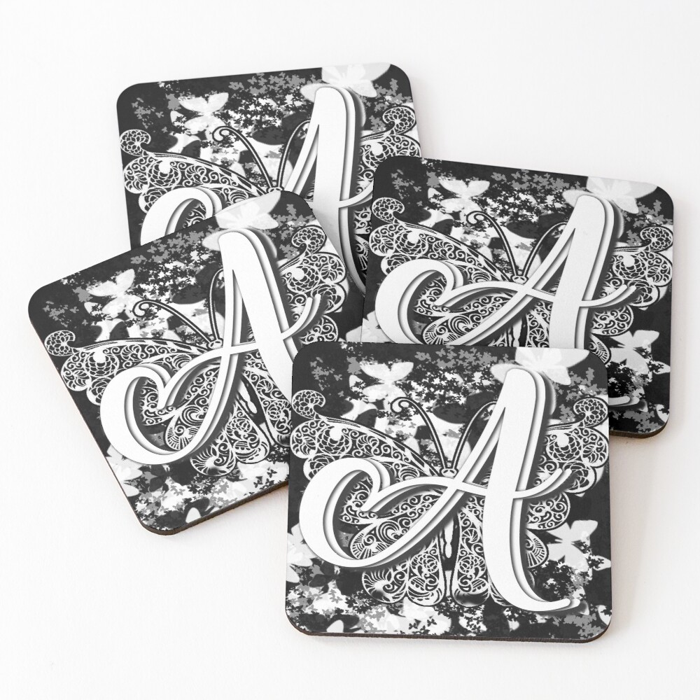 The Letter A: Decorative Monogram Single Initial Coasters (Set of 4)