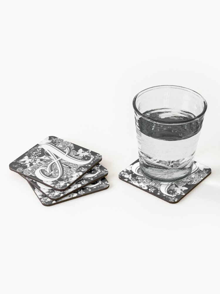Alternate view of The Letter A: Decorative Monogram Single Initial Coasters (Set of 4)