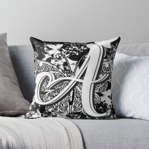 The Letter A: Decorative Monogram Single Initial Throw Pillow