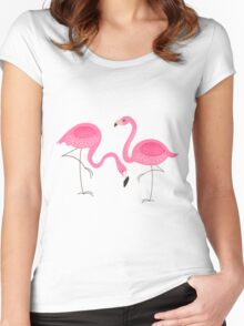 Cute Pink Flamingos Illustration Women's Fitted Scoop T-Shirt
