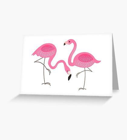 Cute Pink Flamingos Illustration Greeting Card