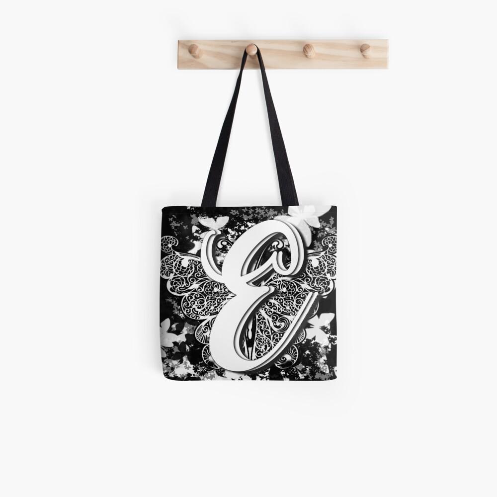 The Letter E: Decorative Monogram Single Initial Tote Bag