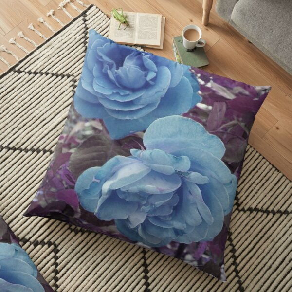 Copy of TWO ROSES  BLUE AND PURPLE MODERN AND  VERY ROMANTIC Floor Pillow