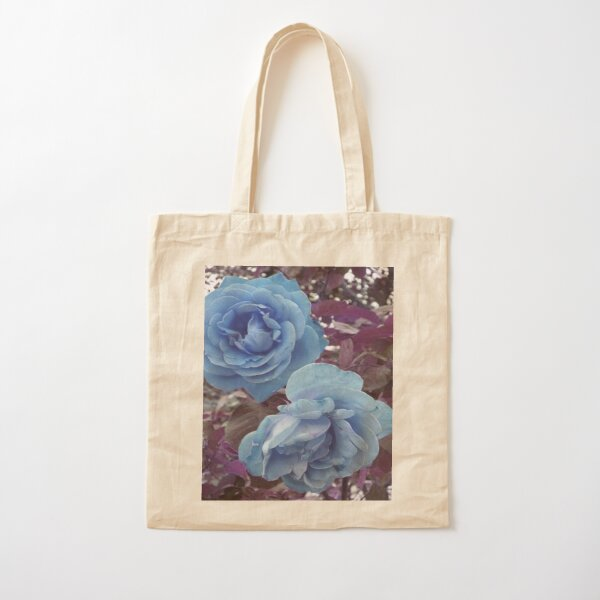 Copy of TWO ROSES  BLUE AND PURPLE MODERN AND  VERY ROMANTIC Cotton Tote Bag