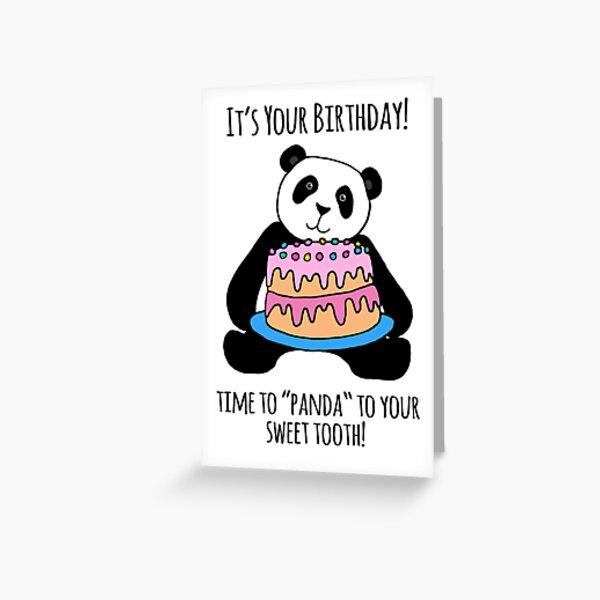 Panda with Cake Birthday Card Greeting Card