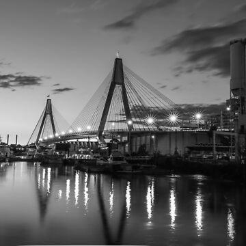 Anzac Bridge - B & W by skeeter