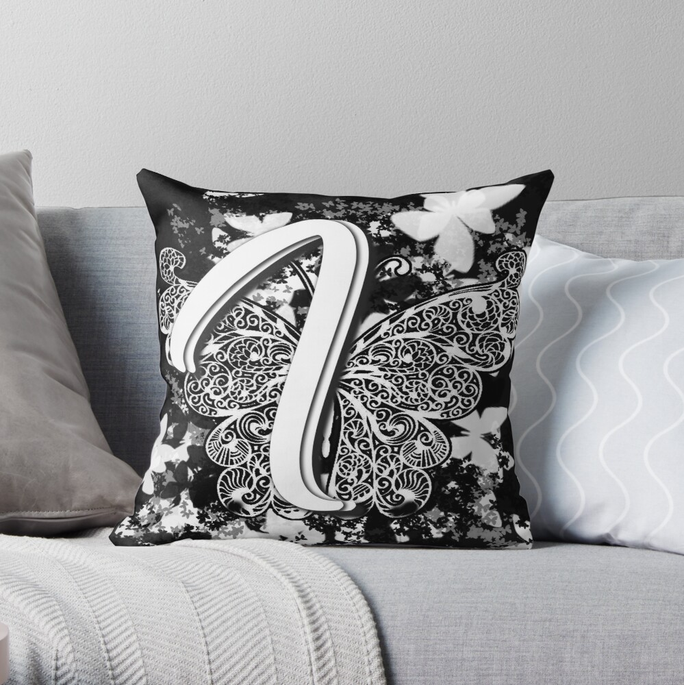 The Letter I: Decorative Monogram Single Initial Throw Pillow