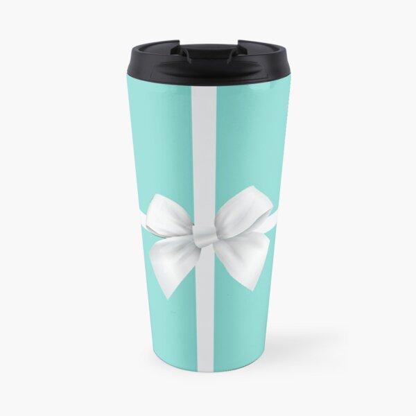Blue Gift Box White Bow Travel Mug