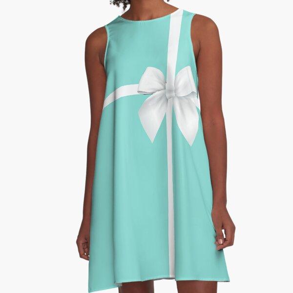Blue Gift Box White Bow A-Line Dress